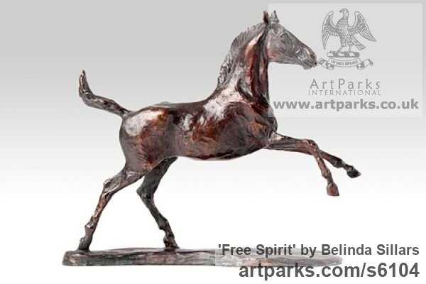 Bronze Horse Sculpture / Equines Race Horses Pack HorseCart Horses Plough Horsess sculpture by sculptor Belinda Sillars titled: 'Free Spirit (Bronze Little/Small Horse/Pony sculpture/statue/statuette)'
