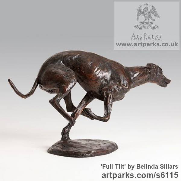 Bronze Dogs sculpture by sculptor Belinda Sillars titled: 'Full Tilt (Sprinting Racing Running Grey Hound statuettes statues)' - Artwork View 2