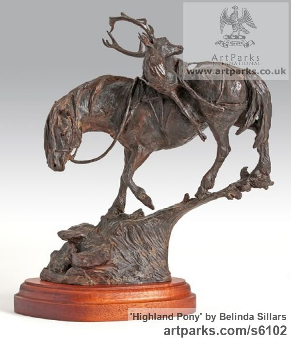 Bronze Horse Sculpture / Equines Race Horses Pack HorseCart Horses Plough Horsess sculpture by sculptor Belinda Sillars titled: 'Highland Pony (Bronze and Stag End of Stalk sculpture statuette)' - Artwork View 1
