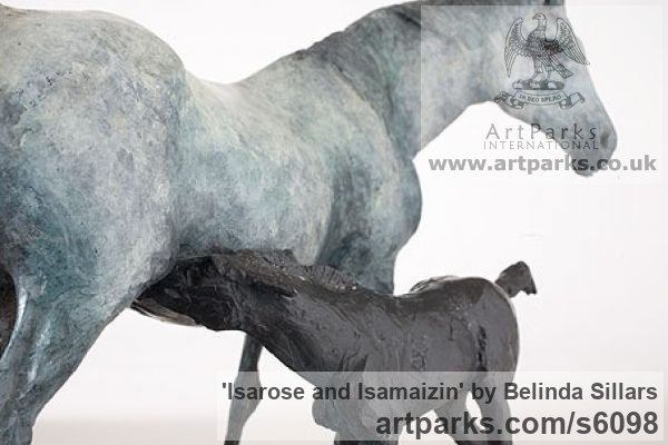 Bronze Horse Sculpture / Equines Race Horses Pack HorseCart Horses Plough Horsess sculpture by sculptor Belinda Sillars titled: 'Isarose and Isamaizin (Bronze Mare Suckling Foal sculpturette)' - Artwork View 4