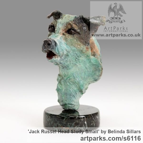Bronze Dogs sculpture by sculptor Belinda Sillars titled: 'Jack Russel Head Study (Little Dog bronze Bust sculpture)'