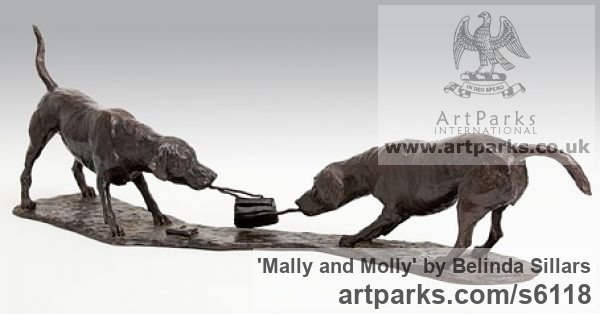 Bronze Dog sculpture by artist Belinda Sillars titled: 'Mally and Molly (Two bronze Dogs Playing Little statuette statue figurative)'