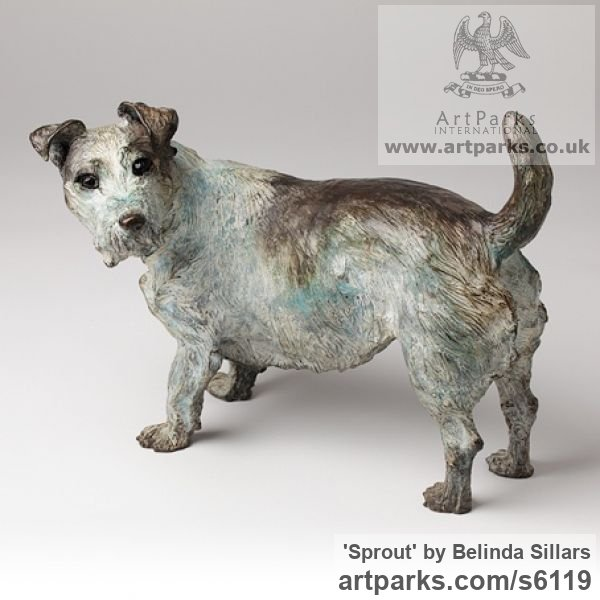 Bronze Dogs sculpture by sculptor Belinda Sillars titled: 'Sprout (Small Bronze Dog Terrier Commission/Portrait sculpture/statue)'