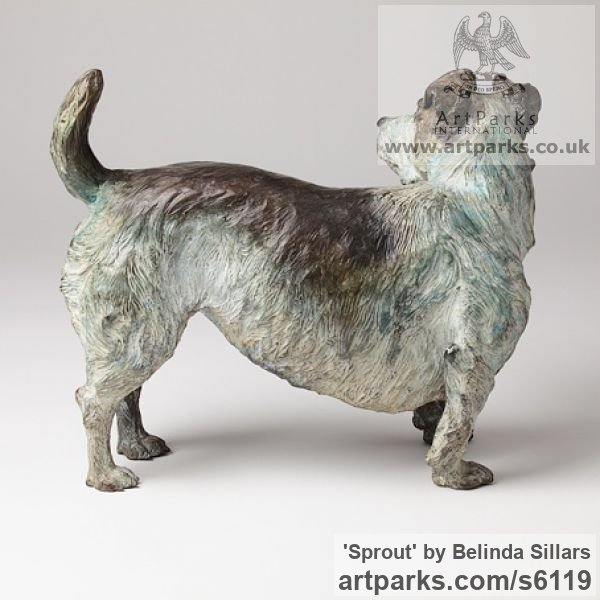 Bronze Dogs sculpture by sculptor Belinda Sillars titled: 'Sprout (Small Bronze Dog Terrier Commission/Portrait sculpture/statue)' - Artwork View 3