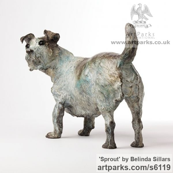 Bronze Dogs sculpture by sculptor Belinda Sillars titled: 'Sprout (Small Bronze Dog Terrier Commission/Portrait sculpture/statue)' - Artwork View 4