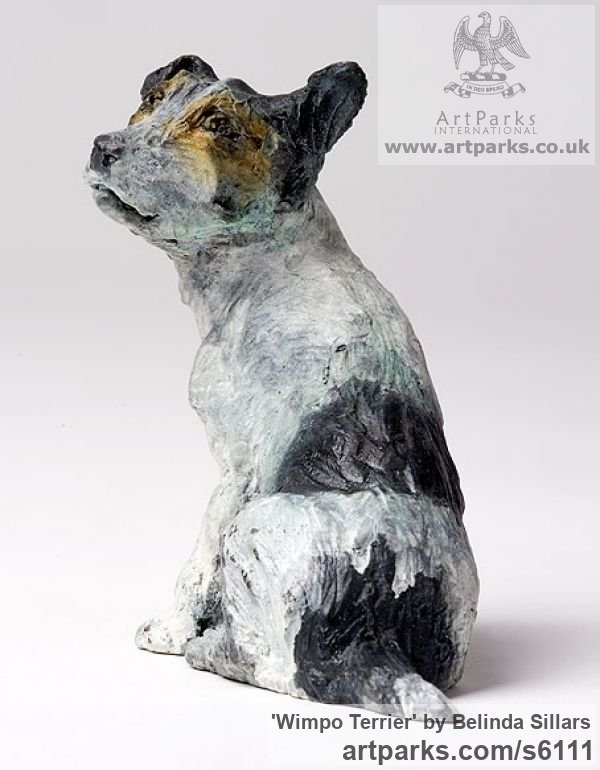 Bronze Dogs sculpture by sculptor Belinda Sillars titled: 'Wimpo Terrier (Small bronze Polychrome Dog statuettes/Figurines)'