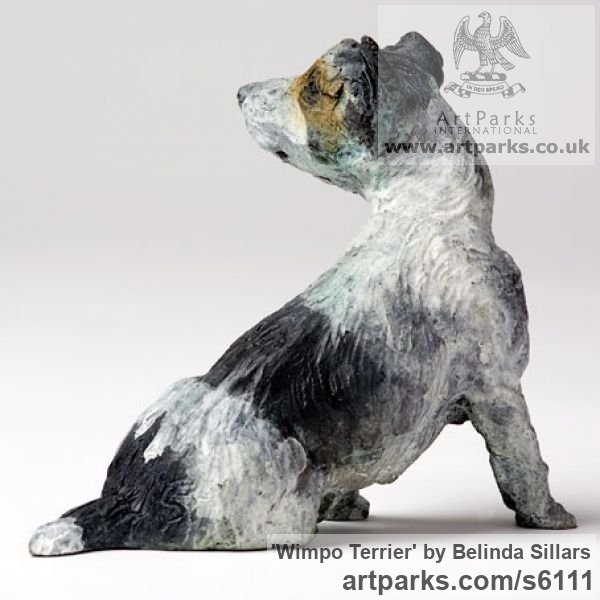 Bronze Dogs sculpture by sculptor Belinda Sillars titled: 'Wimpo Terrier (Small bronze Polychrome Dog statuettes/Figurines)' - Artwork View 2