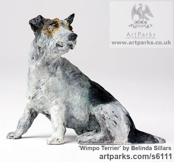 Bronze Dogs sculpture by sculptor Belinda Sillars titled: 'Wimpo Terrier (Small bronze Polychrome Dog statuettes/Figurines)' - Artwork View 3