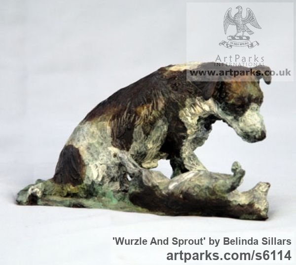 Bronze Dogs sculpture by sculptor Belinda Sillars titled: 'Wurzle and Sprout (2 Small/Little bronze Terriers Playing statues)'