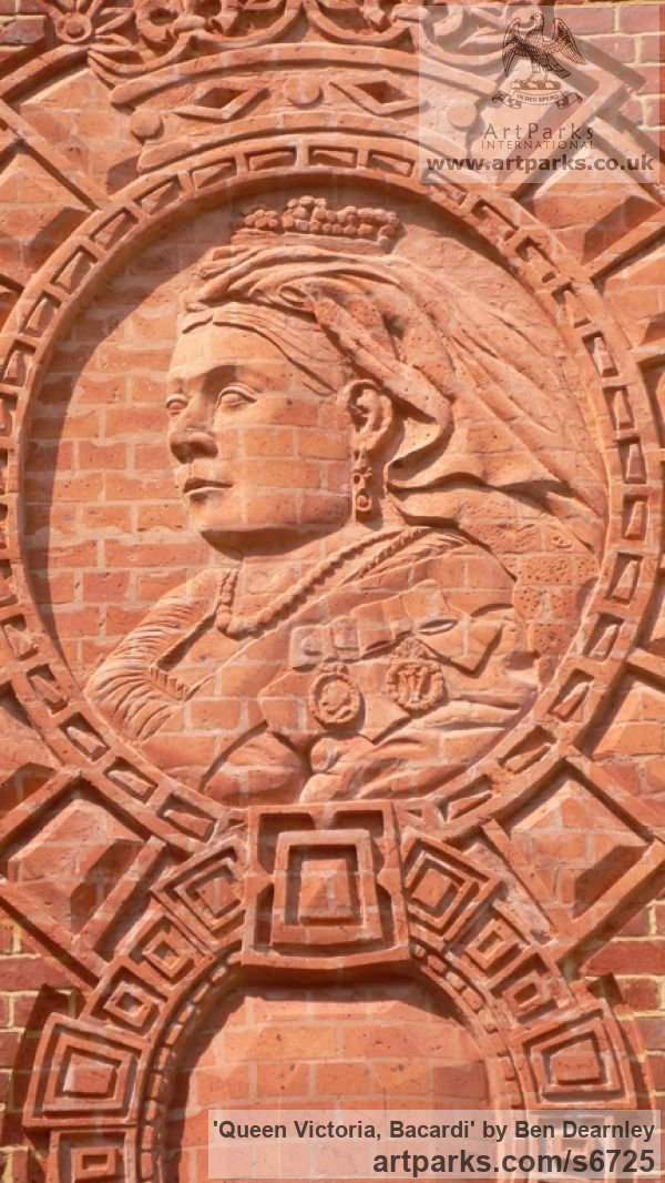 Brick Heraldic Crests Logos Trade Marks Carvings or Castings sculpture by sculptor Ben Dearnley titled: 'Queen Victoria, Bacardi'
