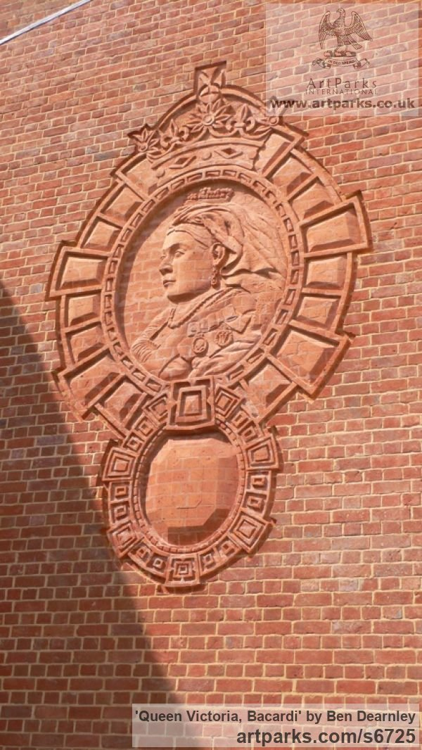 Brick Heraldic Crests Logos Trade Marks Carvings or Castings sculpture by sculptor Ben Dearnley titled: 'Queen Victoria, Bacardi' - Artwork View 2