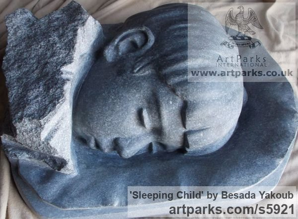 Black Granite Stone Portrait Sculptures / Commission or Bespoke or Customised sculpture by sculptor Besada Yakoub titled: 'Sleeping Child (Carved Granite stone Bust Head statue)'