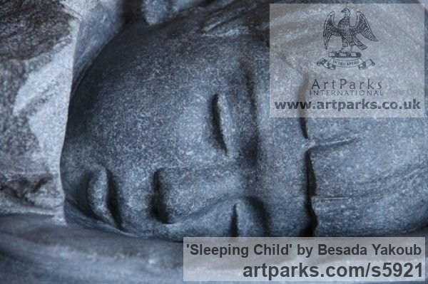 Black Granite Stone Portrait Sculptures / Commission or Bespoke or Customised sculpture by sculptor Besada Yakoub titled: 'Sleeping Child (Carved Granite stone Bust Head statue)' - Artwork View 3