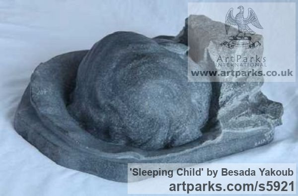 Black Granite Stone Portrait Sculptures / Commission or Bespoke or Customised sculpture by sculptor Besada Yakoub titled: 'Sleeping Child (Carved Granite stone Bust Head statue)' - Artwork View 4