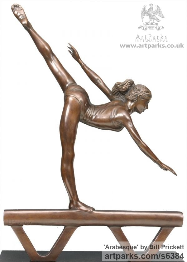 Bronze Females Women Girls Ladies sculpture statuettes figurines sculpture by sculptor Bill Prickett titled: 'Arabesque (female Gymnast sculpturette statue)'