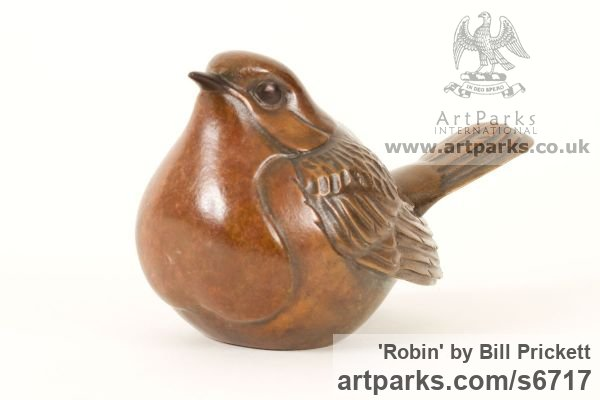 Bronze Perched Birds sculpture carvings sculpture by sculptor Bill Prickett titled: 'Robin (bronze Indoor Little Perched/statue/statuette)' - Artwork View 4