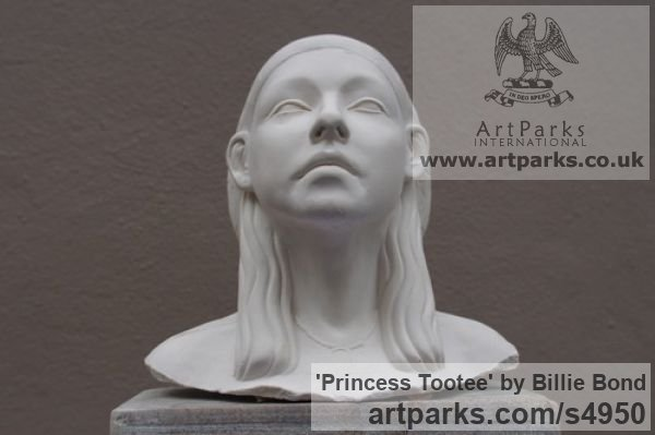 Cast marble with oak base Females Women Girls Ladies sculpture statuettes figurines sculpture by sculptor Billie Bond titled: 'Princess Tootee (Portrait Head Ancient Egyptian Godless sculptures)' - Artwork View 2