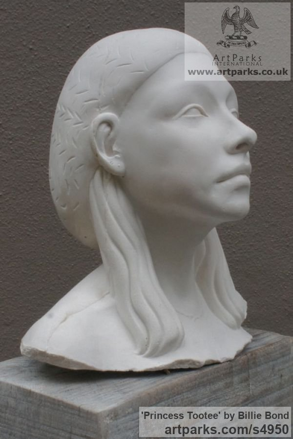 Cast marble with oak base Females Women Girls Ladies sculpture statuettes figurines sculpture by sculptor Billie Bond titled: 'Princess Tootee (Portrait Head Ancient Egyptian Godless sculptures)' - Artwork View 4
