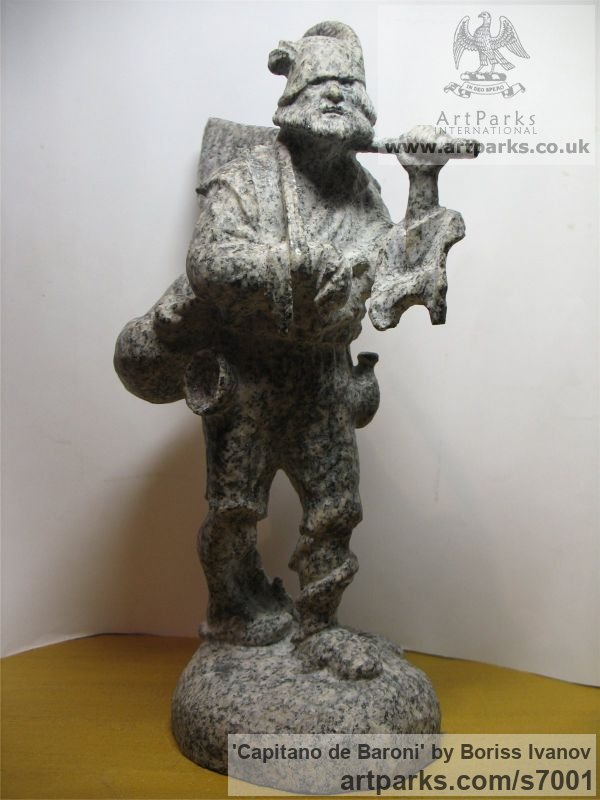 Granite Male Men Youths Masculine sculpturettes figurines sculpture by sculptor Boriss Ivanov titled: 'Capitano de Baroni (Miniature Folk Lore Pixie Male Fairy Tinker statue)'