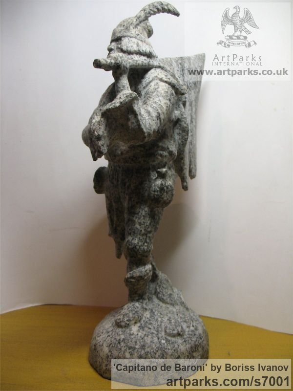 Granite Male Men Youths Masculine sculpturettes figurines sculpture by sculptor Boriss Ivanov titled: 'Capitano de Baroni (Miniature Folk Lore Pixie Male Fairy Tinker statue)' - Artwork View 2