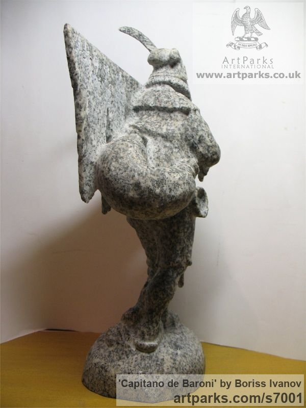 Granite Male Men Youths Masculine sculpturettes figurines sculpture by sculptor Boriss Ivanov titled: 'Capitano de Baroni (Miniature Folk Lore Pixie Male Fairy Tinker statue)' - Artwork View 4