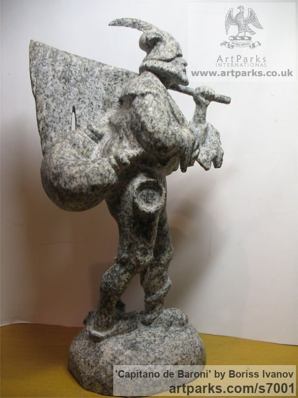 Granite Male Men Youths Masculine sculpturettes figurines sculpture by sculptor Boriss Ivanov titled: 'Capitano de Baroni (Miniature Folk Lore Pixie Male Fairy Tinker statue)' - Artwork View 5