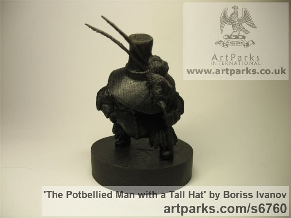 Bog oak Tabletop Desktop Small Indoor Statuettes Figurines sculpture by sculptor Boriss Ivanov titled: 'The Potbellied Man with a Tall Hat (Miniature Carved Wood statuette)' - Artwork View 2