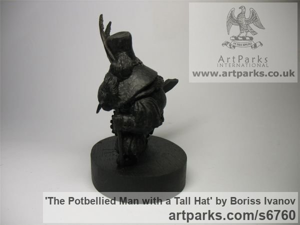 Bog oak Tabletop Desktop Small Indoor Statuettes Figurines sculpture by sculptor Boriss Ivanov titled: 'The Potbellied Man with a Tall Hat (Miniature Carved Wood statuette)' - Artwork View 3