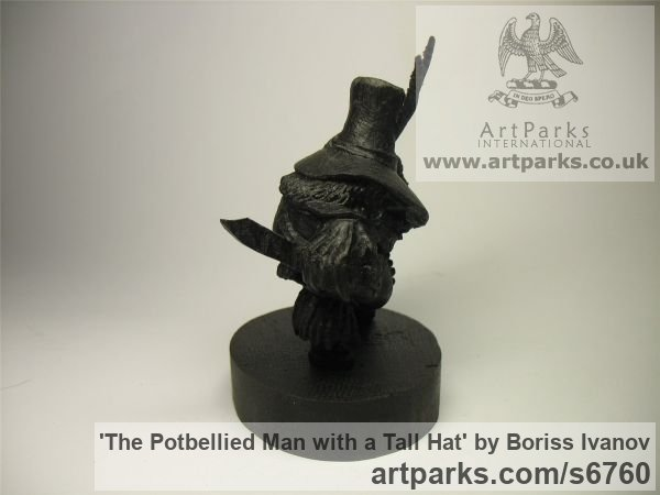 Bog oak Tabletop Desktop Small Indoor Statuettes Figurines sculpture by sculptor Boriss Ivanov titled: 'The Potbellied Man with a Tall Hat (Miniature Carved Wood statuette)' - Artwork View 5
