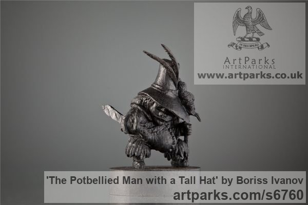Bog oak Tabletop Desktop Small Indoor Statuettes Figurines sculpture by sculptor Boriss Ivanov titled: 'The Potbellied Man with a Tall Hat (Miniature Carved Wood statuette)'