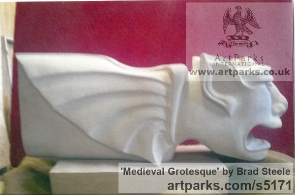 Cream Sandstone Grotesque Sculptures / Statues / figurines to order Commission Custom Bespoke sculpture by sculptor Brad Steele titled: 'Medieval Grotesque (stone Carved Commission Statuary Carving statue)' - Artwork View 2