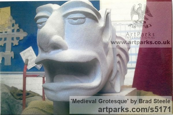 Cream Sandstone Grotesque Sculptures / Statues / figurines to order Commission Custom Bespoke sculpture by sculptor Brad Steele titled: 'Medieval Grotesque (stone Carved Commission Statuary Carving statue)' - Artwork View 3