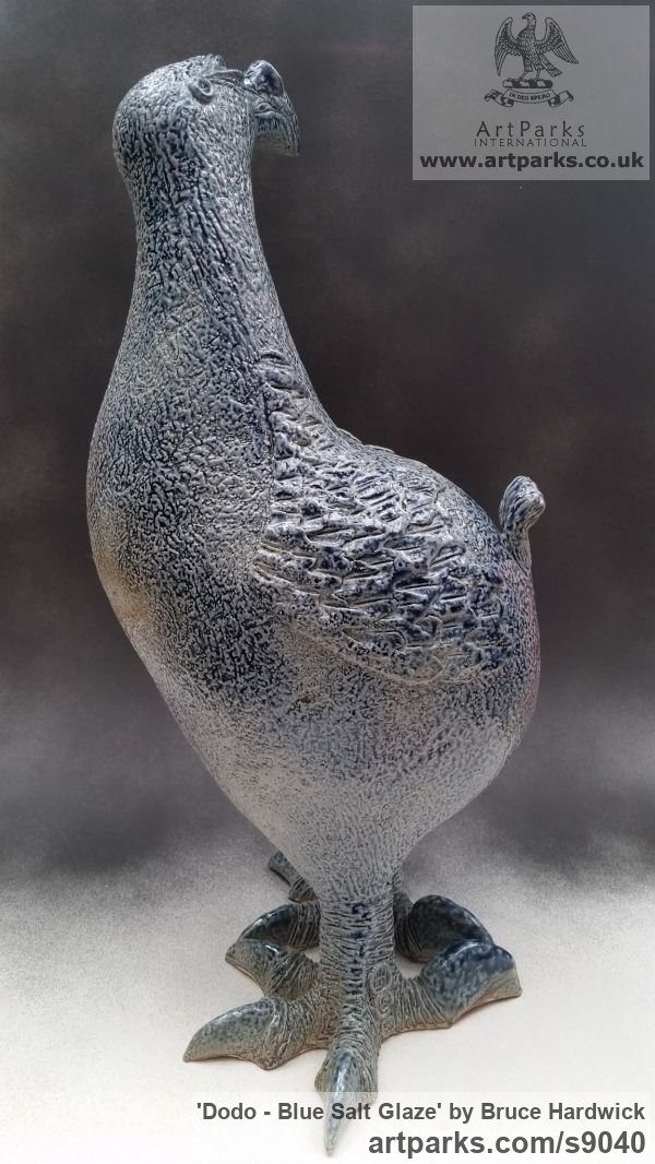 Ceramic Ornamental Birds sculpture or sculpture by sculptor Bruce Hardwick titled: 'Dodo - Blue Salt Glaze (ceramic Amusing Fun statuette)' - Artwork View 3