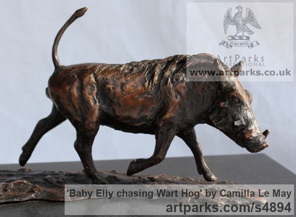 Bronze Tabletop Desktop Small Indoor Statuettes Figurines sculpture by sculptor Camilla Le May titled: 'Baby Elly chasing wart Hog (Elephant Calf sculptures)' - Artwork View 4