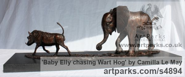 Bronze Tabletop Desktop Small Indoor Statuettes Figurines sculpture by sculptor Camilla Le May titled: 'Baby Elly chasing wart Hog (Elephant Calf sculptures)' - Artwork View 5