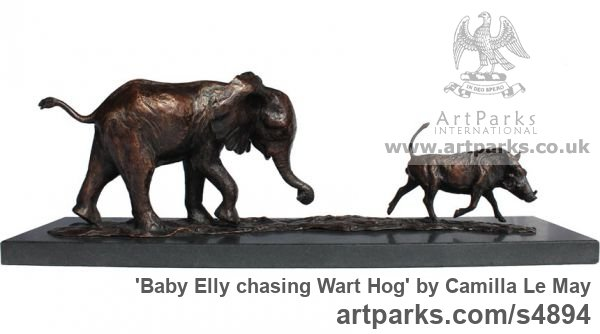 Bronze Tabletop Desktop Small Indoor Statuettes Figurines sculpture by sculptor Camilla Le May titled: 'Baby Elly chasing wart Hog (Elephant Calf sculptures)'
