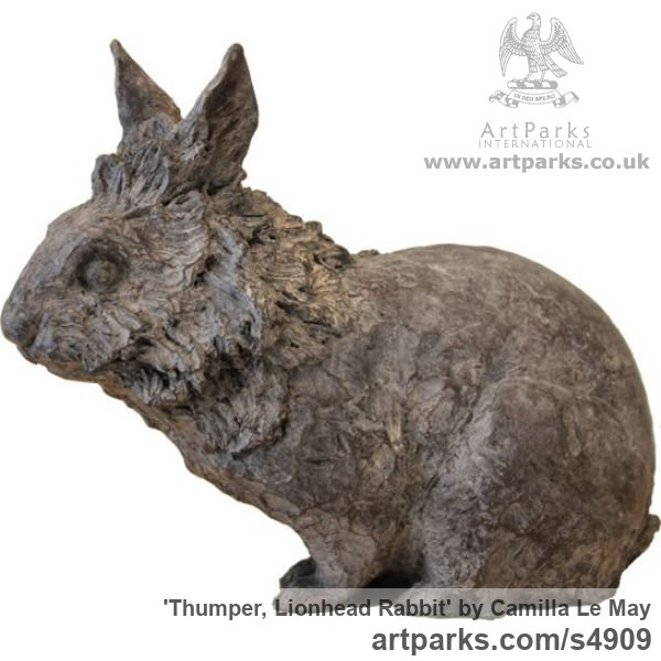 Bronze Tabletop Desktop Small Indoor Statuettes Figurines sculpture by sculptor Camilla Le May titled: 'Lion Maned Rabbit (Bronze Metal sculpture Crouching Sitting)'