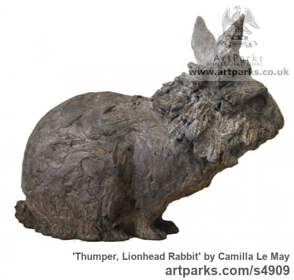 Bronze Tabletop Desktop Small Indoor Statuettes Figurines sculpture by sculptor Camilla Le May titled: 'Lion Maned Rabbit (Bronze Metal sculpture Crouching Sitting)' - Artwork View 2