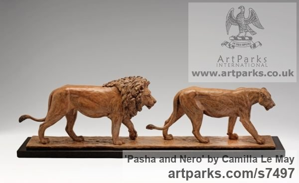 Bronze Cats Wild and Big Cats sculpture by sculptor Camilla Le May titled: 'Pasha and Nero (bronze Little small Lions Walking Indoor Tabletop statue)'