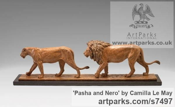Bronze Cats Wild and Big Cats sculpture by sculptor Camilla Le May titled: 'Pasha and Nero (bronze Little small Lions Walking Indoor Tabletop statue)' - Artwork View 2