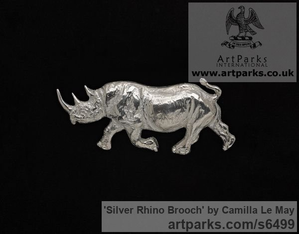 Silver Wild Animals and Wild Life sculpture by sculptor Camilla Le May titled: 'Silver Rhino brooch (Animal Hall Marked Jewellery Adornment)'