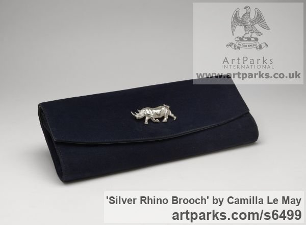 Silver Wild Animals and Wild Life sculpture by sculptor Camilla Le May titled: 'Silver Rhino brooch (Animal Hall Marked Jewellery Adornment)' - Artwork View 2