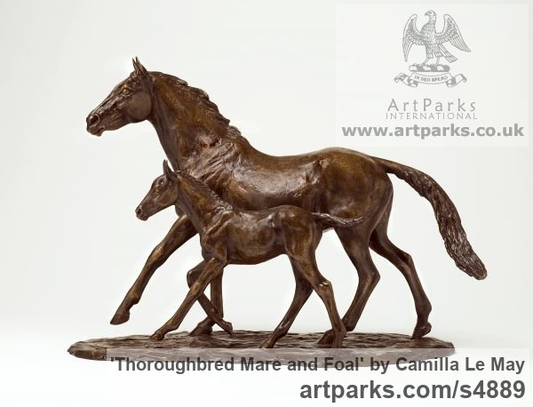 Bronze Horse Sculpture / Equines Race Horses Pack HorseCart Horses Plough Horsess sculpture by sculptor Camilla Le May titled: 'Thoroughbred Mare and Foal (bronze sculptures Horse sculptures/statue)'