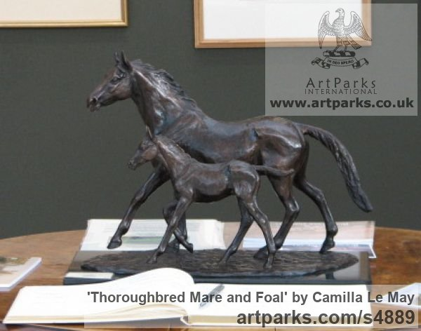 Bronze Horse Sculpture / Equines Race Horses Pack HorseCart Horses Plough Horsess sculpture by sculptor Camilla Le May titled: 'Thoroughbred Mare and Foal (bronze sculptures Horse sculptures/statue)' - Artwork View 2