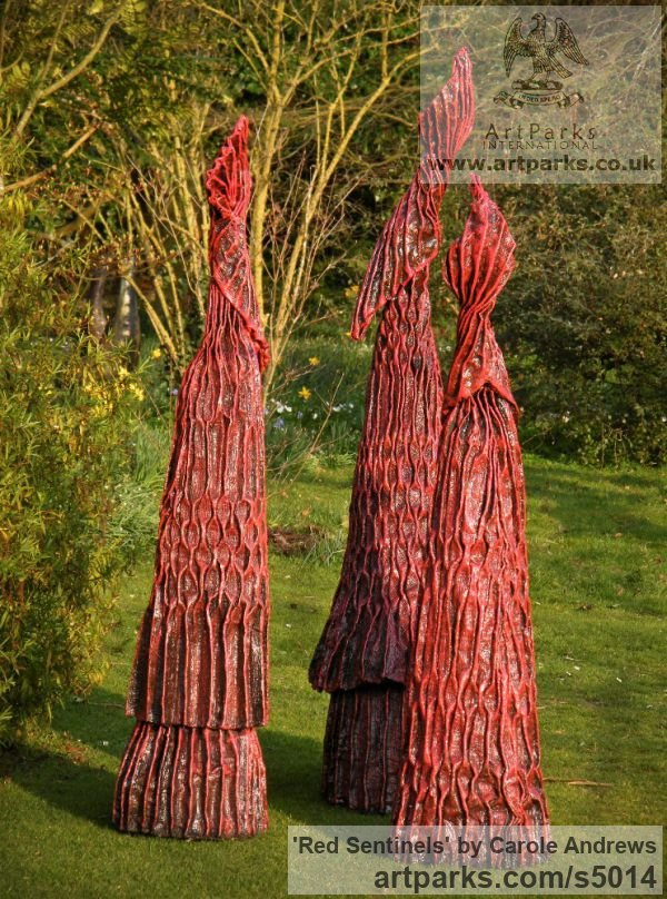 Roofing Felt, Steel, Polyurenthane, Resi Garden Or Yard / Outside and Outdoor sculpture by sculptor Carole Andrews titled: 'Red Sentinels (abstract figurative Contemporary Modern garden sculpture)' - Artwork View 1