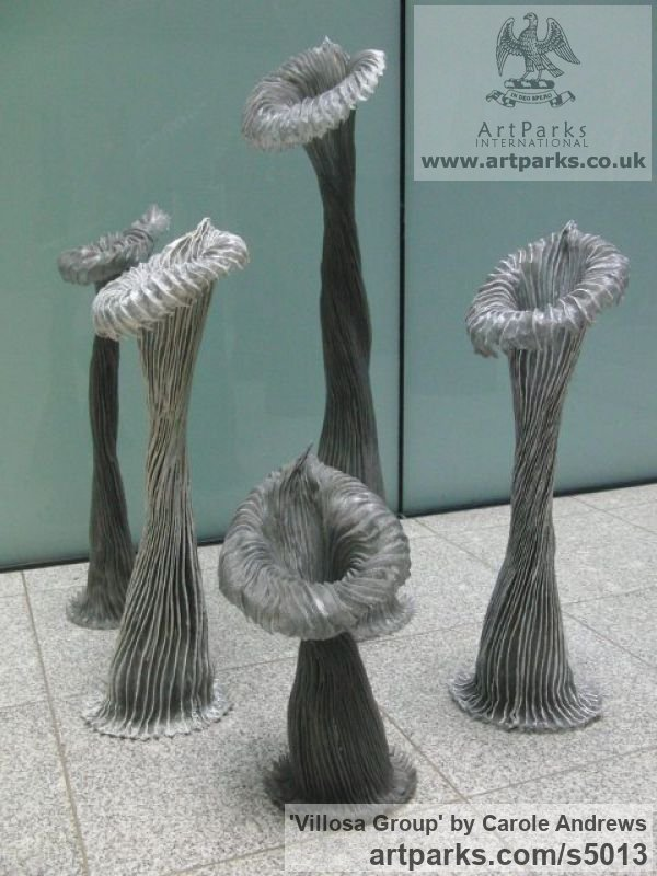 Aluminium, Resin Garden Or Yard / Outside and Outdoor sculpture by sculptor Carole Andrews titled: 'Villosa Group (Stylized abstract Yard/garden Decoration Embelishment)'
