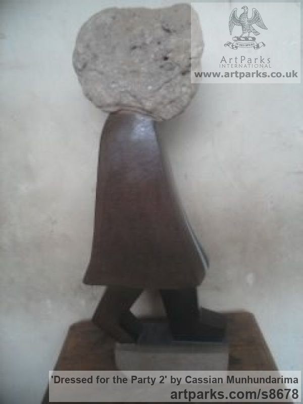 Stone Carved or Carving sculpture by sculptor Cassian Munhundarima titled: 'Dressed for the Party 2 (Carved Stone Girl statue)' - Artwork View 3