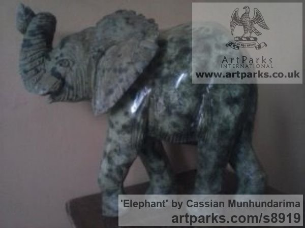 Stone African Art Sculpture Statuary sculpture by sculptor Cassian Munhundarima titled: 'Elephant (Small Carved Walking Indoor statue)' - Artwork View 2