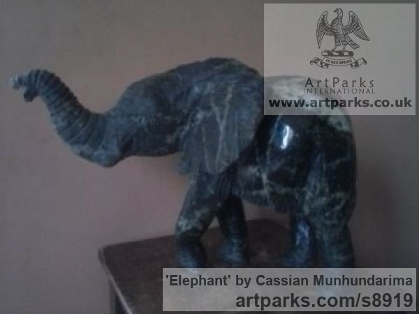 Stone African Art Sculpture Statuary sculpture by sculptor Cassian Munhundarima titled: 'Elephant (Small Carved Walking Indoor statue)' - Artwork View 3