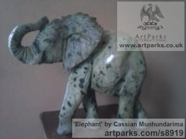 Stone African Art Sculpture Statuary sculpture by sculptor Cassian Munhundarima titled: 'Elephant (Small Carved Walking Indoor statue)' - Artwork View 4